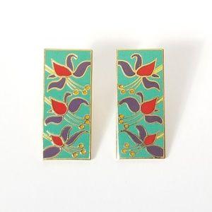 Laurel Burch | Vintage Floral Enamel Earrings